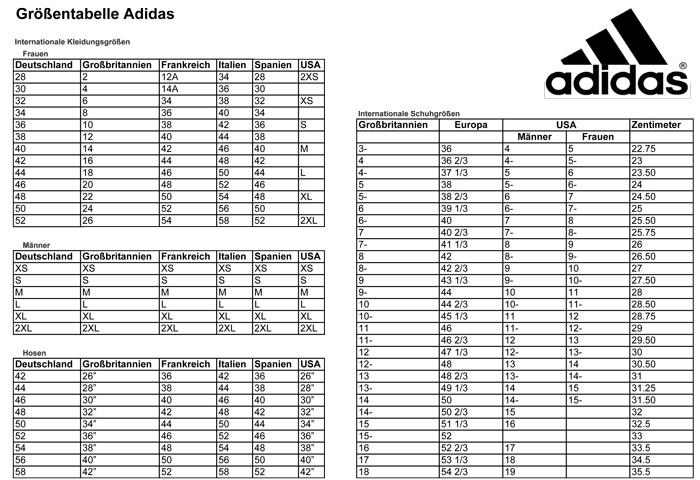 Größentabelle Adidas